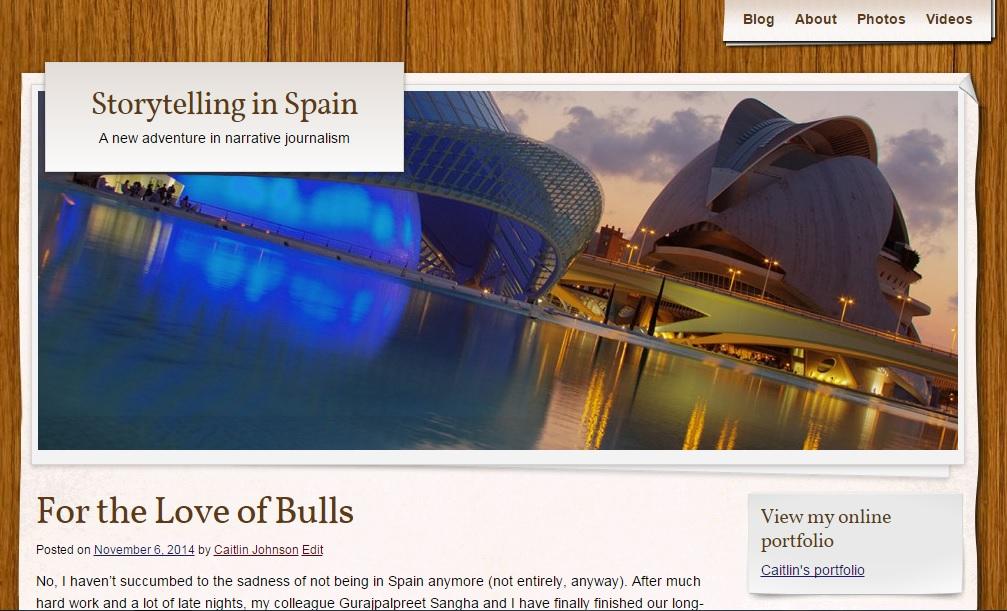 Screenshot of blog, Storytelling in Spain
